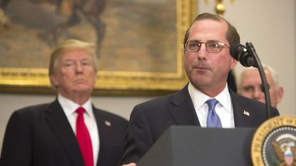 Health and Human Services Secretary Alex Azar with President Trump at the White House last month as Azar was being sworn in.