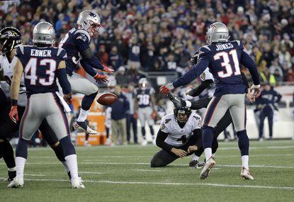 New England Patriots linebacker Shea McClellin blocks a field goal attempt by Baltimore Ravens kicker Justin Tucker.