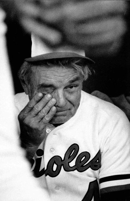 A tearful Earl Weaver is pictured during the Orioles' last regular-season game against Milwaukee in 1982. The O's had to win 4 of 4 games to get into the playoffs. They won the first three and lost the last one. This was Earl Weaver's last game as manager, before heading into retirement. But he would return as Orioles manager for the 1985 and 1986 seasons and enter the Hall of Fame in 1996.