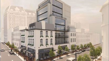 Landmark Partners has proposed building an eight-story office building behind the Grand Central building at Charles and Eager streets as it redevelops the property.