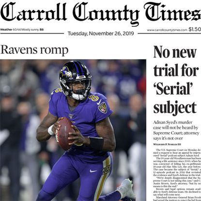 Carroll County Times front page for Nov 26 2019