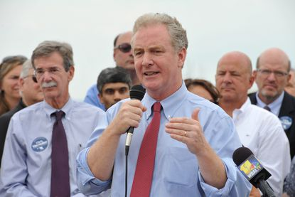 """Annapolis, MD - 7/13/15 -Amy Davis /Baltimore Sun - Rep. Chris Van Hollen, running for U.S. Senate, received support from Maryland Attorney General Brian Frosh, left, and prominent state environmental activists who held a press conference on Dock Street in Annapolis to kickoff the coalition of """"Environmentalists for Van Hollen."""" Among the speakers endorsing Van Hollen were Marcia Verploegen Lewis, J. Charles """"Chuck"""" Fox, Verna Harrison and Cindy Schwartz. #2499"""