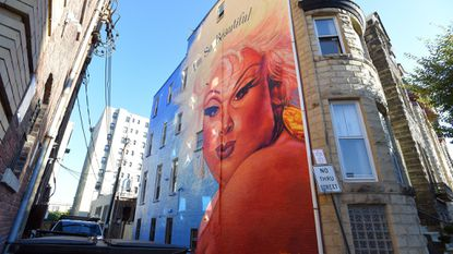 A mural of Divine at 106. E. Preston St. was approved by the city's historical and architectural preservation commission.