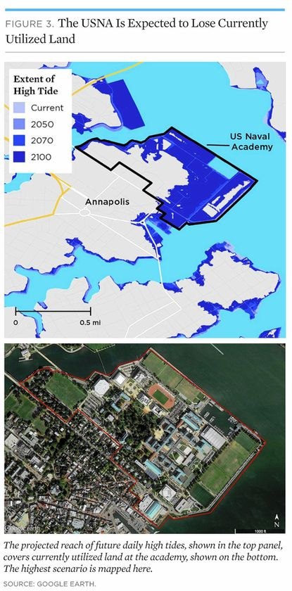 Maps show how the Naval Academy could lose land to sea level rise by 2100.