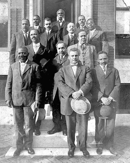 This image depicts the ad hoc committee of attorneys and ministers who fought successfully to place African -American teachers into Baltimore's Colored High School at the turn of the century. Many in this group went on to assume a leadership role in early civil rights struggles.