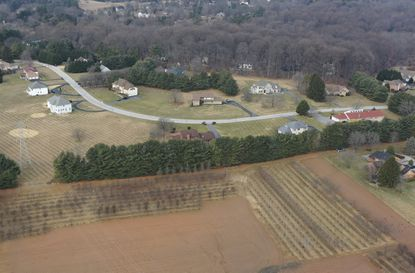 Aerial view of a farm in Baltimore County where nearby community residents are angry about the odor from a hemp crop that was part of a state pilot program.