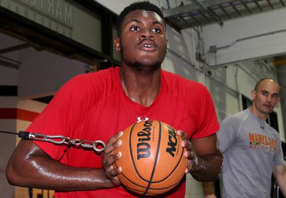 Maryland freshman Diamond Stone in action during a workout this summer.