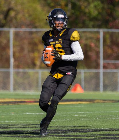 Bowie State quarterback Ja'rome Johnson, shown in this file photo, accounted for 361 yards of offense in the Bulldogs' loss on Saturday.