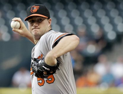 OriolesstarterMike Wright delivers a pitch against the Houston Astros in the first inning, Tuesday, June 2, 2015, in Houston.
