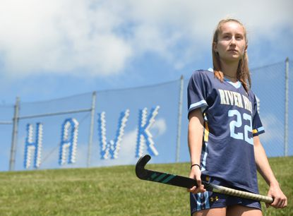 River Hill sophomore Maddie Vasilios, named Howard County field hockey Player of the Year this spring, is photographed at the school on May 5, 2021.