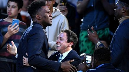 Bruno Fernando reacts after being drafted No. 34 overall during the 2019 NBA Draft at the Barclays Center Thursday in Brooklyn, N.Y.