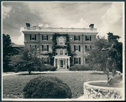 A view of Hartefeld Hall, the main residence of the Raskob estate in Queen Anne's County. The white circular plaques bear sculptured likenesses of the Raskob children.