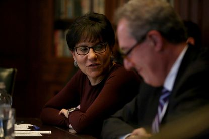 Then-Commerce Secretary Penny Pritzker talks with the Chicago Tribune Editorial Board in 2014. Pritzker, a billionaire businesswoman and sister of the current Democratic governor of Illinois, has backed former Vice President Joe Biden for the White House. Both served in the Obama administration.