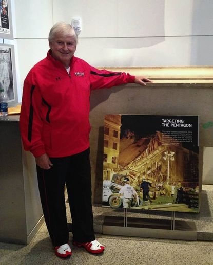 North Laurel resident Bill Vaughan found one of his photos of the Pentagon, taken in the days after the Sept. 11, 2001, terrorism attacks, on display at the Newseum in Washington.