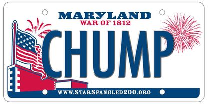 The MVA rejected a CHUMP license plate, but more costly, if polite, digital plates may soon be available.