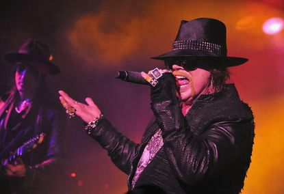Axl Rose of Guns N' Roses performs at the Maritime Hotel in New York City February 16.