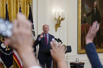 President Joe Biden gestures for a question from a reporter as he speaks about the coronavirus pandemic in the East Room of the White House in Washington, Tuesday, Aug. 3, 2021. (AP Photo/Susan Walsh)