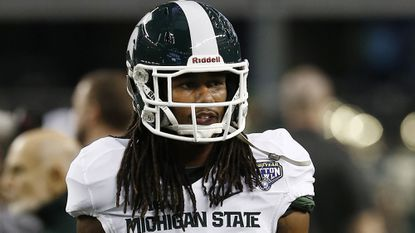 Michigan State cornerback Trae Waynes looks on before the start of the Cotton Bowl.