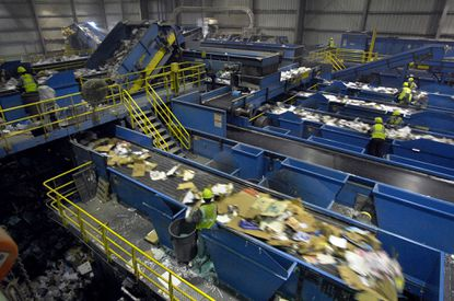 ELKRIDGE, MD -- At Waste Management Recycle America, 1,000 tons are recycled daily at the busy single stream plant.