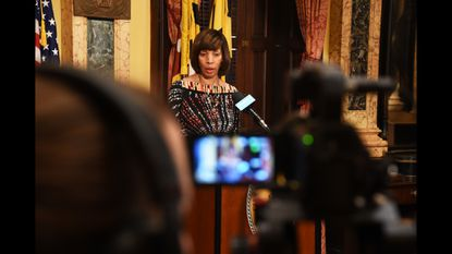 Mayor Catherine Pugh addresses the media about the city's minimum wage bill.