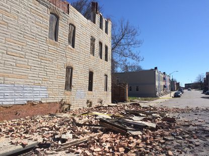 This building at Fulton Avenue and Presbury Street was one of several that collapsed in Baltimore on Sunday.
