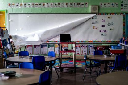 An empty classroom at Sinclair Lane Elementary School in Baltimore, Md., on April 14, 2020.