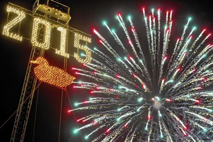 The New Year's Eve Duck Drop and Fireworks In Havre de Grace featured an orange duck this year in honor of the Baltimore Orioles, in hope they will win the World Series in 2015. (photo by Scott Serio / December 31, 2014)