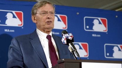 Baseball commissioner Bud Selig meets with the media during the owners' meetings in Baltimore in August.