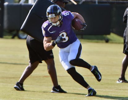 Ravens wide receiver Griff Whalen is shown during training camp. He re-signed with the Ravens on Thursday.