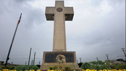 Pictured is the World War I memorial cross at 4500 Annapolis Road. The Bladensburg Peace Cross, as the local landmark is known, was dedicated in 1925 as a memorial to Prince George's County's World War I dead.