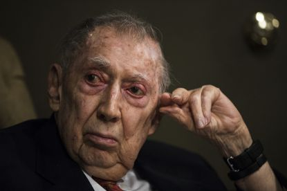 In this May 11, 2017, file photo, attorney Richard Sprague listens during a news conference in Philadelphia. Sprague, a prominent Philadelphia lawyer who has prosecuted murderers, won high-stakes civil lawsuits and was deeply influential in state and city political and civic affairs died Saturday night, a funeral home confirmed. He was 95.