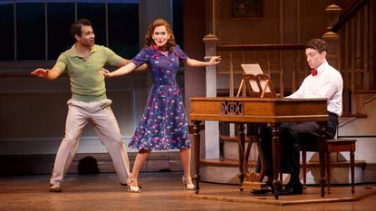 """Corbin Bleu (left), Lora Lee Gayer and Bryce Pinkham in """"Irving Berlin's Holiday Inn"""" on Broadway."""