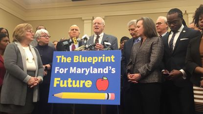 "Former University System of Maryland Chairman William ""Brit"" Kirwan speaks Tuesday at a news conference in Annapolis."