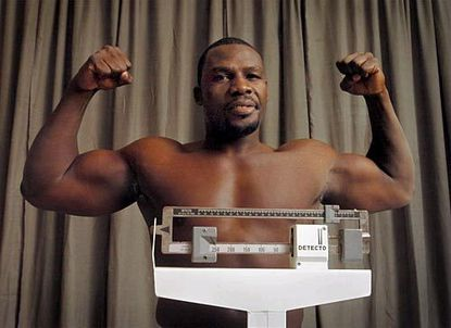 Former heavyweight boxing champion Hasim Rahman's weigh-in for his March 2004 fight against Al Cole at Michael's Eighth Avenue. in Glen Burnie