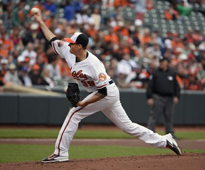 Orioles pitcher Kevin Gausman throws a pitch against the Detroit Tigers on Wednesday.
