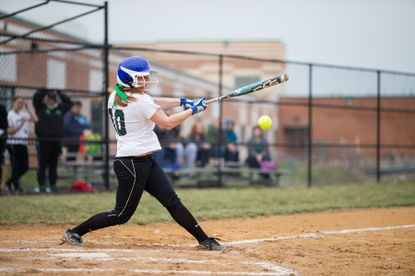 Atholton's Maya Schwartz swings at a pitch.