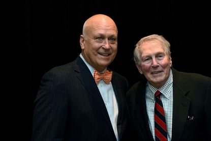 Cal Ripken Jr. and Brooks Robinson pose for photos during the Cal Ripken Sr. Foundation 13th Annual Aspire Gala at the Baltimore Waterfront Marriott.
