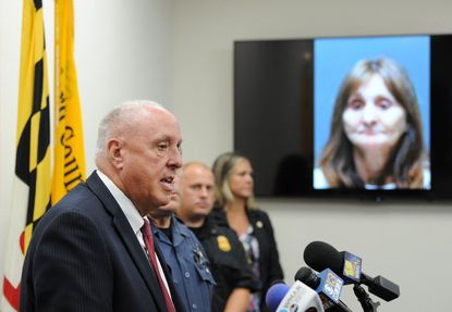 Maryland State Fire Marshal Brian Geraci talks about the arrest of Bobbie Sue Hodge, whose photo is on a monitor behind him, as a suspect in the fatal fire in Edgewood in early May during a press conference at the Harford County Sheriff's Office headquarters in Bel Air Tuesday.