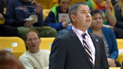 Towson men's basketball coach Pat Skerry looks on during the first half of game during the 2016-17 season. The Tigers have won 10 consecutive games and are off to their best start in their Division I history at 10-1.