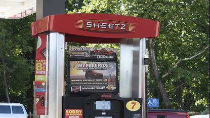 A gas pump at the Sheetz store on Md. 140 in Westminster. A renovation set to begin this spring will update the Manchester location on Md. 30 to a similar design.