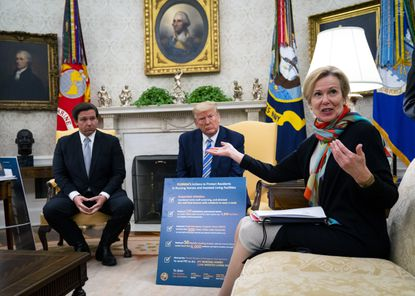 "Dr. Deborah Birx, the White House coronavirus response coordinator, speaks to reporters as President Donald Trump, center, and Gov. Ron DeSantis of Florida look on in the Oval office on April 28, 2020. Birx has found herself a woman without a country, denounced by Democrats and called ""pathetic"" by the president."