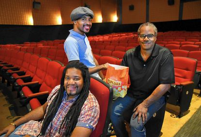 From left, Kenneth Moore, founder and director of the Baltimore International Black Film Festival, with organizers Jacob Pierce and Eric Cotten, at the Charles Theatre where many of the screenings for the second annual festival will be held.