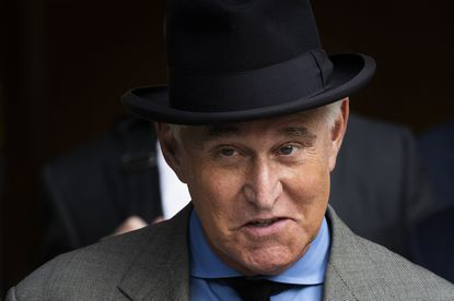 FILE - In this Nov. 12, 2019, file photo, Roger Stone leaves federal court in Washington. Facebook on Wednesday, July 8, 2020, said it has removed dozens of accounts linked to the hate group Proud Boys, to President Donald Trump's longtime ally Roger Stone and to employees of Brazil's president, Jair Bolsonaro, among others. (AP Photo/Manuel Balce Ceneta, File)