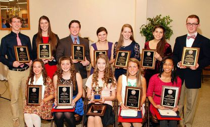 High school recipients of a $1,000 Charlie Riley Community Service scholarship are, back row from left, Thomas Burley, Katherine Rizzieri, Matthew Barnes, Sarah Fielder, Sarah Hawkins, Jourdan Richard and Graeme Fenton; and front row from left, Selena Snyder, Shelby Richter, Patricia Good, Hannah Palmer and Genevie Mayo-Johnson.