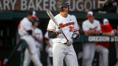 Adley Rutschman bats for Oregon State against Washington State during an NCAA baseball game on Friday, April 26, 2019 in Corvallis, Ore.