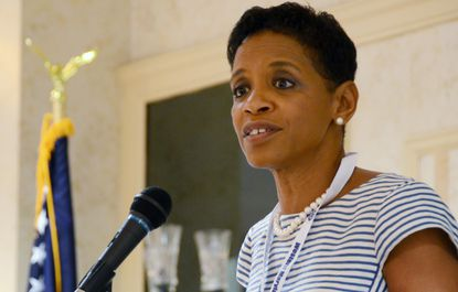 BALTIMORE, MD -- 6/19/15 -- U.S. Rep. Donna Edwards speaks at the first Rural Maryland Democratic Summit in Frederick on Saturday. Edwards and fellow U.S. Senate candidate Rep. Chris Van Hollen participated in a forum as part of the day-long summit. Both Edwards and Van Hollen emphasized that they can represent the interests of conservative-leaning voters in rural counties. md-rural-democrats-edwards Pamela Wood/Baltimore Sun staff #5812