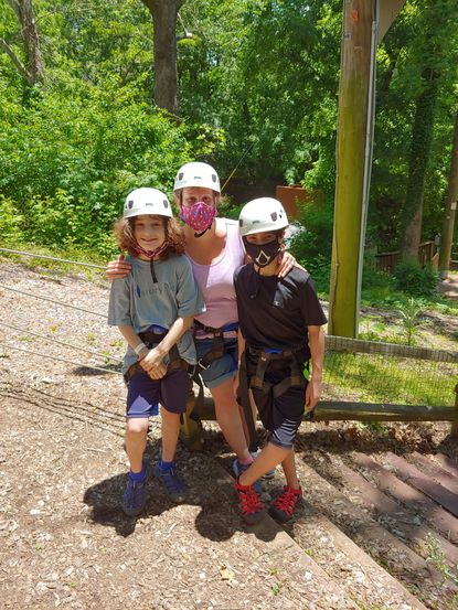 The Berkley family — Zachary, 9, Jennifer, and Max, 12 — at Terrapin Adventures at Historic Savage Mill.