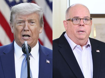 President Donald Trump on the left and Maryland Gov. Larry Hogan, on right