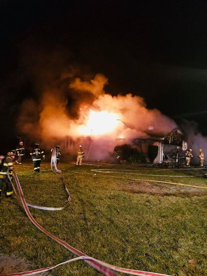 A garage and two cars were destroyed after a fire in the 4000 block of Old York Road in Monkton on Saturday, Jan. 18, 2020.