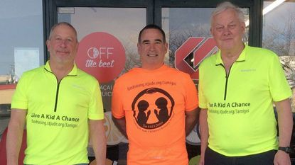 The members of the '3 Amigos' cycling team -- from left, Larry Friedman, Tony Yoor and Jeff Springer -- all of Bel Air, are riding their bikes across the U.S. to raise money for St. Jude Children's Research Hospital. Their trip begins Wednesday in Southern California.